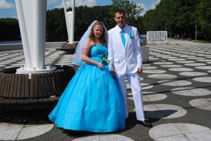 blauwe Sissi jurk  van Patricia