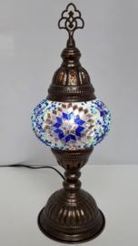 Tafellamp 13cm blauw/zilver