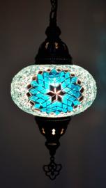Mozaïek hanglamp 16cm turquoise