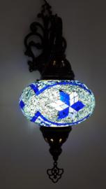 mozaiek wandlamp 16cm blauw