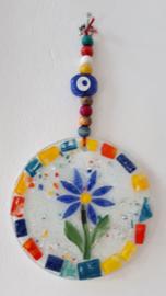 Wanddecoratie glasmozaïek bloem
