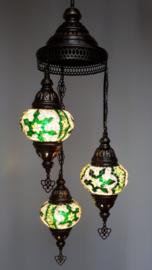 Mozaïek hanglamp 3 bollen 13cm groen
