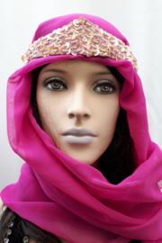 1001-nacht kroontje  + sluiertje oud-roze
