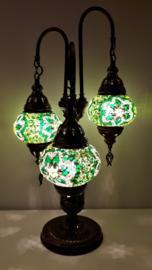 Mozaiek tafellamp 3 bollen 13cm groen