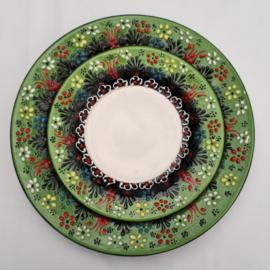 borden keramiek 18 of 26cm groen2, prijs vanaf