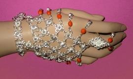 Handsieraad zilver/oranje