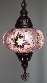 Mozaïek hanglamp 16cm roze/zwart/lila