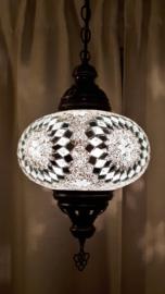 Mozaiek hanglamp groot 24cm wit