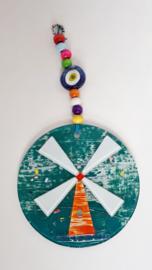 Wanddecoratie glasmozaiek molen groen