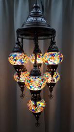 Kroonluchter mozaïek 7X-bollen multicolor