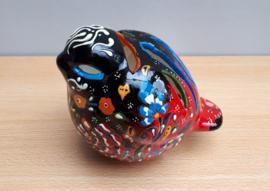 waxinelichthouder Vogel -zwart/rood