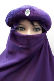 Oosterse hoofdband met grote sluier - paars