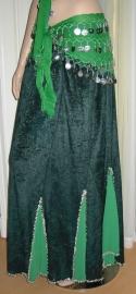 fluwelen rok donkergroen/goud of zilver