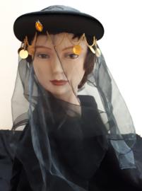 1001-nacht hoofdband met sluiertje zwart