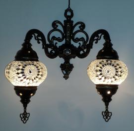 mozaïek dubbele wandlamp 13cm wit
