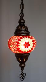 Mozaïek hanglamp 13cm rood-wit