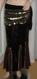 fluwelen rok donkerbruin/goud of zilver