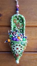 Ottomaans slofje met 'bloemen' groen