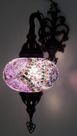 mozaiek wandlamp 16cm paars/zwart