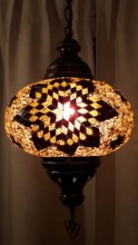 Mozaiek hanglamp groot 24cm goudbruin