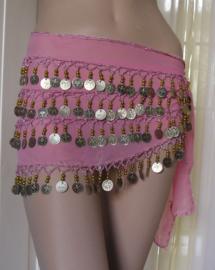 heupsjaal roze goud/zilver