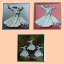 3 magneet tegeltjes Derwisj Dancer