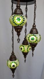 Kroonluchter mozaïek 4 bollen -groen 4S