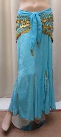 fluwelen rok turquoise/goud