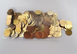plastic muntjes goud (2e keus) ± 500 stuks