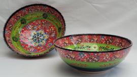 keramieken schalen 20cm groen/rood