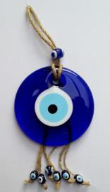 """wanddecoratie """"boze oog"""" 12 cm aan touw"""