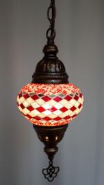 Mozaïek hanglamp 13cm rood/witte lijnen