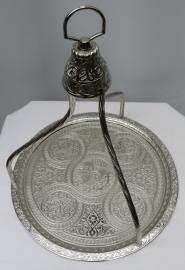 Turks dienblad 34 cm koper/vernikkeld