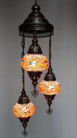 Mozaïek hanglamp 3 bollen 13cm oranje