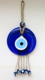 """wanddecoratie """"boze oog"""" 10cm aan touw"""
