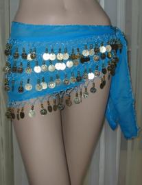 heupsjaal turquoise goud/zilver