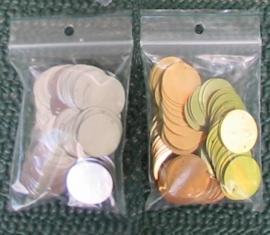 plastic muntjes ± 150 stuks
