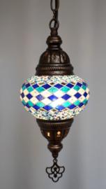 Mozaïek hanglamp 13cm blauw-lijnen