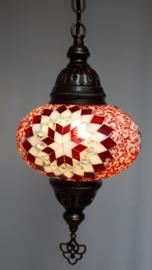 Mozaïek hanglamp 16cm rood/wit