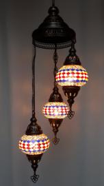 Mozaïek hanglamp 3 bollen 13cm lijnen BGRW