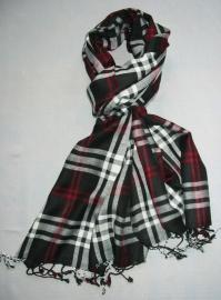Pashimasjaal geruit zwart