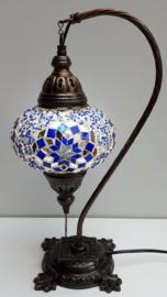 Tafellamp 'zwaan' 16cm blauw/zilver