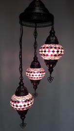 Mozaïek hanglamp 3 bollen 13cm lila/zwart