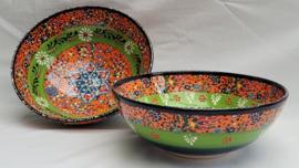 keramieken schalen 20cm groen/oranje