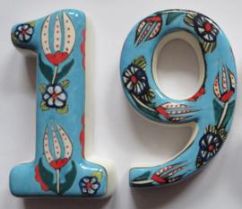 Deurnummers keramiek turquoise