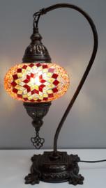 Tafellamp 'zwaan' 16cm rood/geel