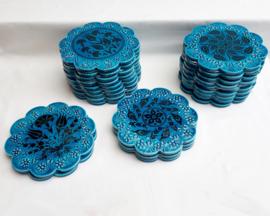 onderzetters blauw keramiek 18cm