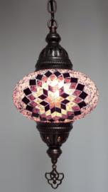 Mozaïek hanglamp 16cm lila/zwart