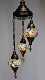 Mozaïek hanglamp 3 bollen 13cm lichtblauw