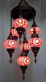 Kroonluchter mozaïek 7X-bollen roze/rood